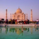 Taj Mahal,Agra<br />The Mogul emperor Shah Jahan built the Taj Mahal in Agra as a tribute to his favorite wife, who died in childbirth in 1630. The white marble monument, with its sprawling gardens, took 20 years to build. A red sandstone mosque stands on one side.